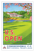 Signed 2011 U.S. Open Congressional Mini-Poster by Lee Wybranski