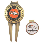 Denver Broncos Golf Hat Clip & Divot Tool with Golf Ball Markers