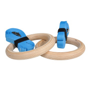 Ultimate Body Press Wood Gymnastic Rings with Upgraded Easy Thread Buckles and Indexed Straps, 3.2cm