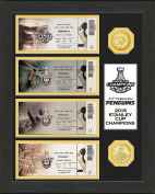 """NHL Pittsburgh Penguins 2016 Stanley Cup Champions Ticket Collection, Gold, 43cm x 36cm X3"""""""