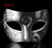 Silver Retro Gladiator Halloween Party Masks Man Woman Children Masquerade Mask (2pcs retro mask $8.95) by HEY