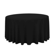 LinenTablecloth 300cm . Round Economy Polyester Tablecloth black