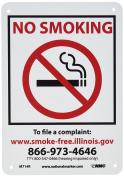 "NMC M714R No Smoking Sign, Legend ""NO SMOKING"" with Graphic, 18cm Length x 25cm Height, Rigid Polystyrene Plastic, Red/Black on White"