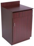 Displays2go Waiter Restaurant Stations, Enclosed Cabinet, Pullout Drawer, Adjustable Height - Mahogany