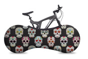 VELOSOCK Bicycle Indoor Storage Cover - Skulls - Best solution to keep floors and walls DIRT-FREE - Fits 99% of ALL ADULT Bicycles - Free UK Shipping
