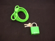 "BIKE LOCK BARGAIN NEON GREEN HIGHLY VISIBLE PADLOCK & 600mm (24"") SECURITY CABLE"