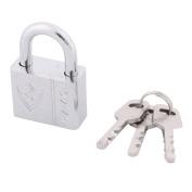 sourcingmap® Door Drawer 40mm Width Security Metal Lock Shackle Padlock Silver Tone