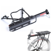Aluminium Bicycle Rear Carrier Cargo Rack, Adjustable Bike Rear Rack Carry Carrier Holder Seat-post Mount Frame-Mounted for Heavier Top & Side Loads