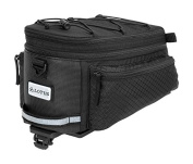 Lotus Unisex Commuter Or Touring Expandable Top Easy Access Bike Bag for Pannier Racks, Black, One Size