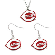 Aminco International Cincinnati Reds Necklace and Dangle Earring Set MLB Charm Gift