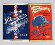 1952 & 1957 Brooklyn Dodgers Signed Programmes & Score Cards (7) -- Andy Pafko, Ed Roebuck etc. -- JSA
