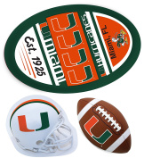 Miami Hurricanes Jumbo Game Day Magnet, Helmet Magnet and Football Magnet Set