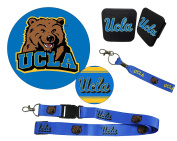 "UCLA Bruins Mascot Magnet, 4"" Round Decal, Cloth Key Chain, Lanyard, and Rubber Trailer Hitch Cover Auto Pack"