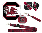"South Carolina Gamecocks Mascot Magnet, 4"" Round Decal, Cloth Key Chain, Lanyard, and Rubber Trailer Hitch Cover Auto Pack"