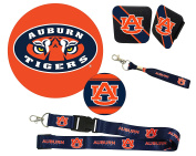 "Auburn Tigers Mascot Magnet, 4"" Round Decal, Cloth Key Chain, Lanyard, and Rubber Trailer Hitch Cover Auto Pack"