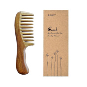 EQLEF® Green sandalwood wide-tooth no static handmade comb, quality wooden curls comb