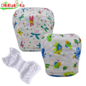 OHBABYKA Baby Washable Cloth Swimming Nappy Pants Pool Cover, One Size, 2Pcs
