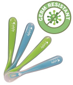 Cuddle Baby® Gum-Friendly First Stage Soft Tip Silicone Feeding Spoons for Babies - Great Infant Gift Set (Pack of 4) Blue & Green - BPA, lead, phthalate and plastic free