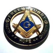 Delux Heavy Alloy Freemasonry Masons Cut Out Golden And Black Auto Emblem