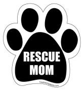 Rescue Mom Paw Magnet - Black