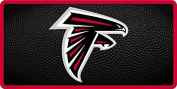 Atlanta Falcons TEAM BALL Style Deluxe Acrylic Laser Cut Mirrored Licence Plate Tag Football