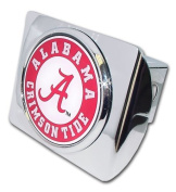 """University of Alabama """"Bright Polished Chrome with Crimson Tide Seal"""" NCAA College Sports Metal Trailer Hitch Cover Fits 5.1cm Auto Car Truck Receiver"""