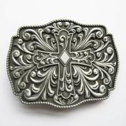 New 3-D Silver Celtic Gothic Cowboy Cross Belt Buckle