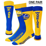"Golden State Warriors ""We Are Warriors"" Big Top MisMatch Crew Socks Size Medium 5-10 - For Bare Feet"