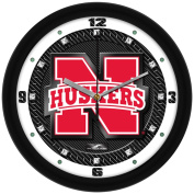 NCAA Nebraska Cornhuskers Textured Wall Clock, Carbon Fibre, One Size