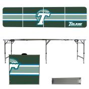 Tulane University Green Wave 2.4m Portable Folding Tailgate Table Stripe Version
