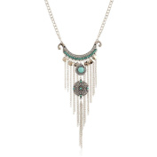 Usstore Women Fashion Pendant Bohemian Gypsy Style Turquoise Tassel Long Chain Necklaces