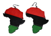 MM Women's Red Black and Green Pan-african Flag Dangling Hoop Wooden Earrings with Silvertone 10cm Long