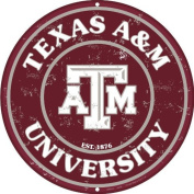 Texas A & M 30cm Embossed Metal Nostalgia Circular Sign