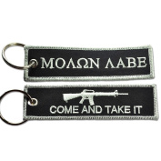 MOLON LABE COME AND TAKE IT NEW TACTICAL EMBROIDERED KEY CHAIN KEY TAG BLK