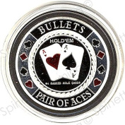 Bullets Pair of Aces Silver Poker Card Guard