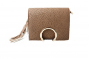 Womens Tan Crackled Effect Box Hand Bag with Tassel Fringe