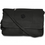 NCAA Clemson Tigers Black Leather Laptop Messenger Bag