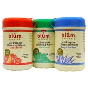 All-Purpose Cleansing Wipes, 3 Bottles, 30 Wipes Each - Blum Naturals