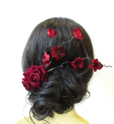 Deep Red Rose Cherry Blossom Sakura Hair Comb Fascinator Headpiece Burgundy 1590 *EXCLUSIVELY SOLD BY STARCROSSED BEAUTY*