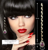Deluxe Hair Accessories - 33 Small Hair Spirals for High-End Long Spiral Gold Purple Crystal Surrounded By Crystals.
