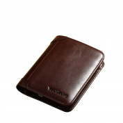 Men's Genuine Cowhide Wax Leather Extra Capacity Bifold Wallet