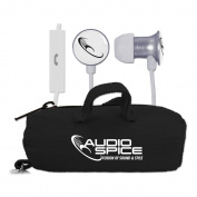 AudioSpice Scorch Earbuds + Mic with BudBag - White
