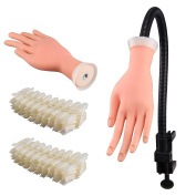 AllRight Training Hand Practise Nail Art Trainer Adjustable Training Hand Modle + 500 Tips