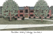 """Campus Images """"Rose Hulman Institute of Technology University"""" Lithographic Print"""