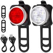 Bicycle Headlight Taillight Combination, AFUNTA Rechargeable LED Bike Light Set with 4 Flashing Modes, 2 USB Cables and 4 Straps Included - White, Red