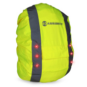Hi Vis Backpack Cover with LED Flashing Lights for Visibility, Waterproof Bag Rucksack Cover
