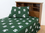 College Covers Michigan State Spartans Printed Sheet Set - King - Solid