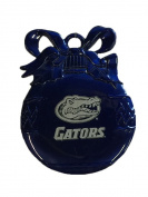 Florida Gators Pewter Round Blue Christmas Ball Ornament