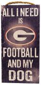 NCAA Georgia Bulldogs 15cm x 30cm All I Need is Football and My Dog Wood Sign
