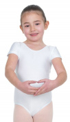 Happy Dance 1004 - Children ballet short sleeves leotard, white colour, size 6